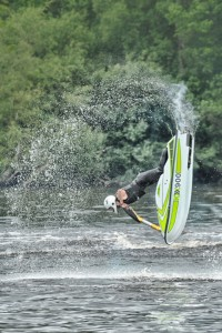 Jet ski looping on the mere at Cholmondeley