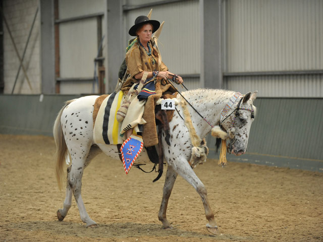 Appaloosa rider competing in the Heritage class